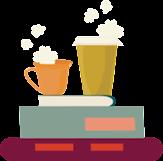 Två kaffemuggar på en hög med böcker.