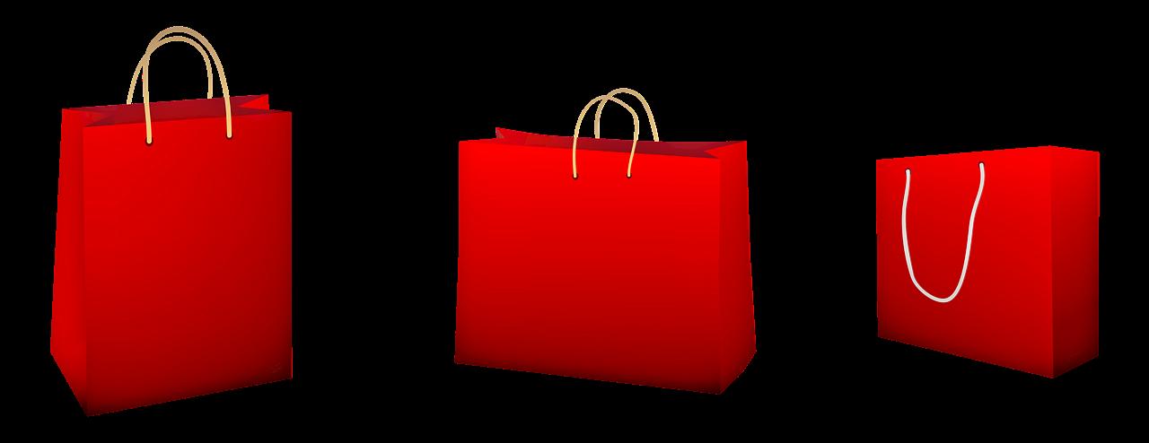 Röda papperspåsar