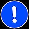 Vitt utropstecken i en blå fylld cirkel